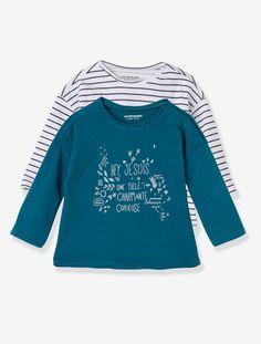 Lot de 2 T-shirts bébé fille Bleu canard + raye+Framboise + imprimé+Rose vif + imprimé - vertbaudet enfant