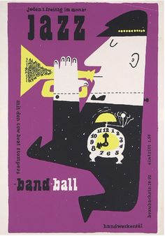 By Hans Michel +Günther Kieser, 1 9 5 7,    jazz band ball Siebdruck.