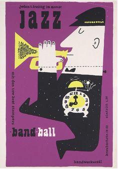 By Hans Michel +Günther Kieser, 1 9 5 7, jazz band ball Siebdruck.