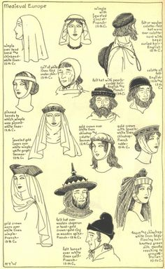 Medieval Europe, 12th-13th century THE MODE IN HATS AND HEADDRESS, by R. Turner Wilcox--chinstraps make my life complete