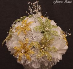 Lily-Bridal-Bouquet-Wedding-BEADED-FLOWERS-Lilies-YELLOW-LIME-GREEN