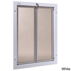 PlexiDor extra-large dog doors are chew proof, applying many of thefeatures from commercial kennel doors used by military and policeworldwide to bring you a virtually indestructible dog door.PlexiDor's hardened acrylic panels are saloon style and do notrequire costly replacement flaps. The hardened aluminum frames comein a silver, white, or bronze finish to coordinate beautifully withyour appliances, interior walls or hardwood floors. The extra-largePlexiDor includes a cylinder lock, key and ste Silver Walls, White Walls, Plexiglass Panels, Acrylic Panels, Pet Kennels, Pet Door, Door Wall, Cat Dog, Dog Fence