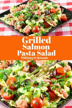 Grilled Salmon Pasta Salad is a healthy blend of salmon, pasta and veggies in a light oil and vinegar dressing Veggie Recipes, Salad Recipes, Veggie Food, Cooking Recipes, Healthy Recipes, Cooking Tips, Tilapia Recipes, Healthy Food, Grilled Salmon Salad