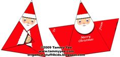 Origami Santa Gift Tag or Christmas Card