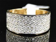 1.03 CT 10K Mens/Ladies Yellow Gold 8.5 MM Wedding Band Real Diamond Ring