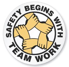 Safety Begins With team Work Hard Hat Decal Hardhat Sticker Helmet Label Safety Week, Lab Safety, Safety At Work, Science Safety, Safety Meeting, Kids Safety, Water Safety, Food Safety, Safety Quotes