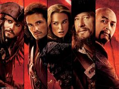 *CAPTAIN JACK SPARROW (Johnny Depp), WILL TURNER (Orlando Bloom), ELIZABETH SWANN (Keira Knightley), CAPTAIN HECTOR BARBOSSA (Geoffrey Rush) & CAP5AIN SAO FENG (Yun-Fat Chow) ~ Pirates of the Caribbean At worlds end , 2007