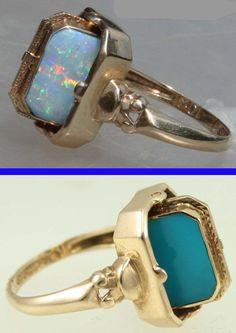 Antique 1920's Reversible Flip Ring Natural Opal and Persian Turquoise 10kt Yellow Gold Cocktail Ring