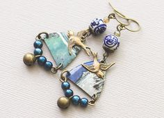 Blue Bird Bell Earrings with Cobalt Blue & by MusingTreeStudios