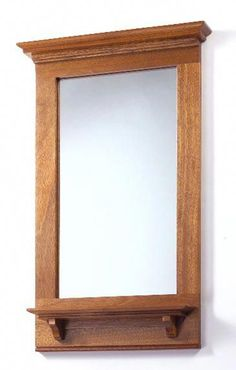 Built of mahogany, this beautiful mirror frame with attached shelf is a great weekend woodworking project. Mission Furniture, Craftsman Furniture, Wood Mirror, Diy Mirror, Arts And Crafts Furniture, Diy Furniture, Fine Woodworking, Woodworking Projects, Craftsman Mirrors