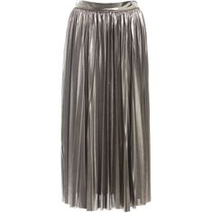 Sans Souci Silver metallic pleated midi skirt (€28) ❤ liked on Polyvore featuring skirts, silver, knee length pleated skirt, stretchy skirts, pleated midi skirt, metallic pleated skirt and mid calf skirts
