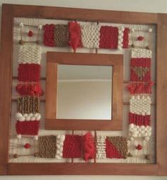 framed mirror with small woven elements rust avocado Weaving For Kids, Weaving Art, Weaving Patterns, Tapestry Weaving, Yarn Wall Art, Palestinian Embroidery, Rope Art, Collage Frames, Loom Knitting