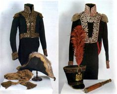 The French Marshal L.-N. Davout's tunic. Woolen fabric, gold embroidery. 1812 + The French General's tunic, shako and spyglass. Woolen fabric, silver embroidery. 1812