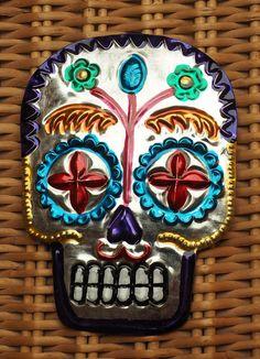 Mexican folk art decoration Tin skull Day of the by MylunaMexicana