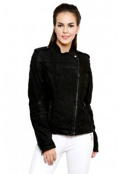 SUEDE LEATHER JACKET WITH SLEEVE DETAILING