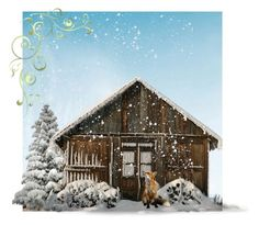 """""""Cabin in the snow"""" by lvmud ❤ liked on Polyvore featuring art"""
