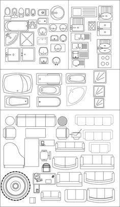 Ideark Cali S Aplicados A Diseño Ingenieria Y Arquitectura Simbologia Representación Arquitectónica Bloques En Planta Alzado Lateral