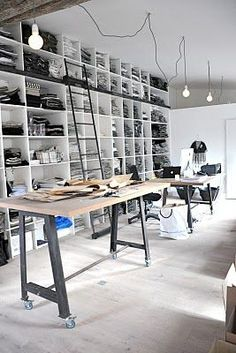 A giant wall of storage and books, hanging task lights, rolling work tables…