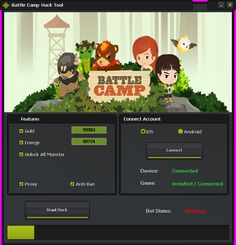 Battle Camp Hack Tool (Android/iOS)   Battle Camp Hack Tool(Android/iOS)  We want to present you an amazing tool calledBattle Camp Hack Tool.With ourBattle Camp Traineryou canget unlimited Gold EnergyandUnlock All Monsters.Our soft works on allAndroidand iOS devices. It does not require any jailbreak or root. OurBattle Camp Cheatis very easy to use. Just Connect your device select the device check the options you want to add click on the buttonStart Hackand youre done!MoreoverBattle…