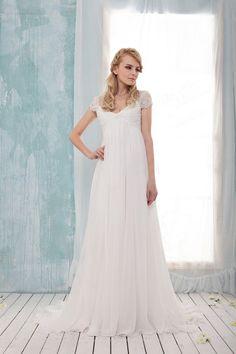 chiffon empire wedding dress by BridalLounge on Etsy, £250.00