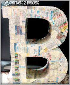 DIY paper mache letters (using cardboard)