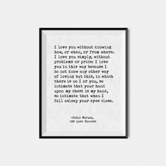 Pablo Neruda Quote / Love Poem / Poetry Print / First Anniversary Paper / Second Cotton / Typewriter Quote / Giclee