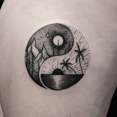 Yin yang, beach and mountain tattoo Ying Yang Tatuaje, Tatuajes Yin Yang, Symbol Tattoos, Body Art Tattoos, Tatoos, Cross Tattoos, Beach Tattoos, Ocean Life Tattoos, Tattoo Symbols