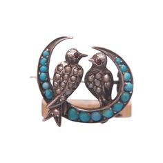 Rare Victorian seed pearl and turquoise brooch set in silver,ca. 1880 - Rare Victorian seed pearl and turquoise brooch set in silver,ca. Victorian Jewelry, Antique Jewelry, Silver Jewelry, Vintage Jewelry, Silver Brooch, Fine Watches, Coral Turquoise, Animal Jewelry, Jewellery Display