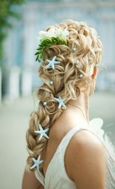 10 Pretty Braided Wedding Hairstyles: #3. Twisted and Pulled Braid with Shell Decorations