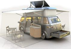 VW Solar Camper. (via Paul Strauch)  Now that's how you keep your travel foot print low.