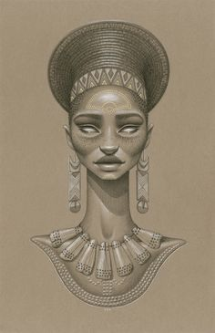 """""""Khwezi"""" by Sara Golish Charcoal, conté gold ink on toned paper. 12.5"""" x 19.5"""" #Afrofuturism #Africa #SciFi #NaturalHair #BlackArt #Blackisbeautiful #Zulu #SouthAfrica #jewelry #art #drawing All artwork © Sara Golish and may not be reproduced or altered without my consent."""