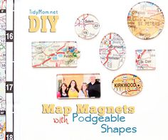 A fun way to document places youa?ve visited or dream about visiting someday by creating your own Map Magnets with Mod Podge Podgeable Acrylic Shapes. Create Your Own Map, Map Crafts, Map Projects, Map Globe, Idee Diy, Craft Tutorials, Craft Ideas, Diy Ideas, Crafty Craft