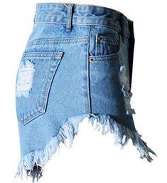 8cf8d5480f WAWAYA Women's Casual Mid Rise Ripped Distressed Cut Off Denim Shorts Jeans ,#Mid,