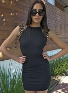 Black Fitted Dress with Gold Studded Shoulders,  Dress, studded shoulders   padded shoulders  fitted dress, Chic