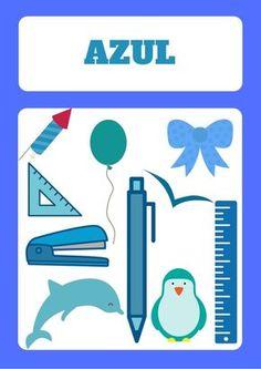 ficha para aprender el color azul. en la web hay fichas para aprender todos los colores, con las fichas con dibujos en cada uno de los colores #color #azul #niños
