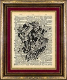 Knucklehead Motorcycle Motor Harley Art Print  // Vintage Dictionary Page Up Cycled
