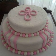 Girl cake! Baptism girls cake!