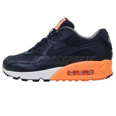 b7f71f263f90c Nike Air Max 90 Premium Navy Orange White 2014 Mens NSW Running   Casual  Shoes Check