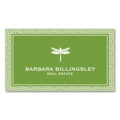 Stylish Realtor, Interior Designer Dragonfly Green Modern Business Card Template - 100% customizable