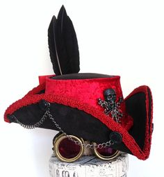 Black leather steampunk red trimmed cockade Tricorn