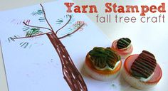yarn stamped fall tree craft for kids