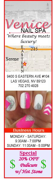 Venice Nail Spa in Henderson, NV - Located off of Eastern near Serene. Best Pedicure in the Las Vegas Valley with Hot Stones! 20% off for mentioning you saw it on Pinkmail.org!