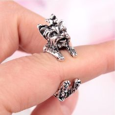 Fashion Bijoux Cute Yorkshire Terrier Dog Ring Animal Ring Everyday Simple Jewelry Dedicated Dog Lovers For Christmas Gifts #Affiliate