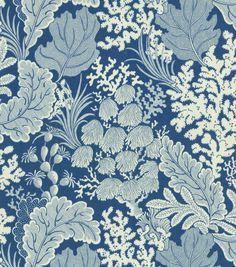 "Blue and ivory fabric - 'Hidden Reef' - 100% cotton, 54"" w - seaweed pattern - nautical, beach, beachy"