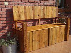 DIY garden bench made from palette wood. Buffet, Bench, Palette, Wood, Garden, Diy, Furniture, Home Decor, Garten