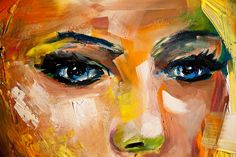 Figure painting - colorful woman portrait painting on white #7473