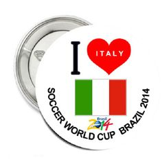 World Cup 2014 I Love Italy Pin Back Button 2.25 | Balli Gifts
