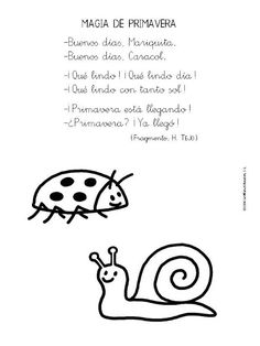 Spanish poem for kids about spring: poesía para educación infantil. Lots of other poems at this website!: http://rosafernandezsalamancainfantil.blogspot.com.es/2012/10/poesias-para-educacion-infantil.html