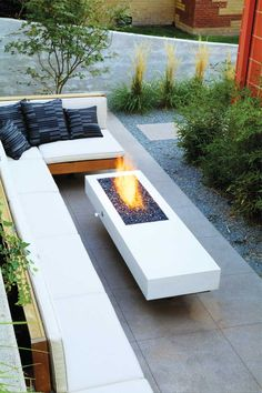Furniture : Modern Patio Design With L Shaped White Patio Sofa Feat Square Black Cushions Near White Modern Fire Pit Outdoor Decorations, Small Balcony and Patio Design Ideas Backyard Designs' Modern Balconies' Deck Design along with Furnitures Narrow Backyard Ideas, Backyard Seating, Backyard Patio Designs, Modern Backyard, Fire Pit Backyard, Backyard Landscaping, Landscaping Ideas, Outdoor Seating, Backyard Gazebo