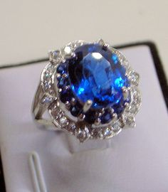 Blue Topaz Ring  Engagement Ring  With Blue And White by JanEleven